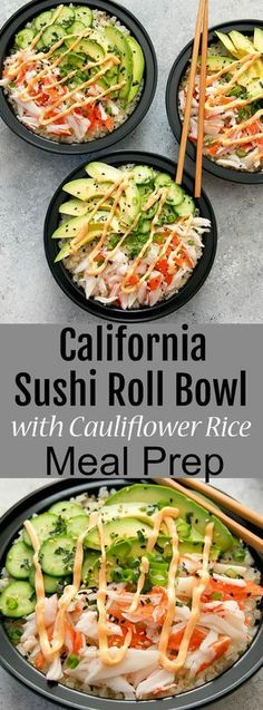 Sushi Roll Bowls with Cauliflower Rice Meal Prep. Deconstructed Calif California Sushi Roll Bowls with Cauliflower Rice Meal Prep. -California Sushi Roll Bowls with Cauliflower Rice Meal Prep. Seafood Recipes, Dinner Recipes, Cooking Recipes, Keto Recipes, Lunch Recipes, Healthy Rice Recipes, Meal Prep Dinner Ideas, Meal Prep Recipes, Sushi Rice Recipes