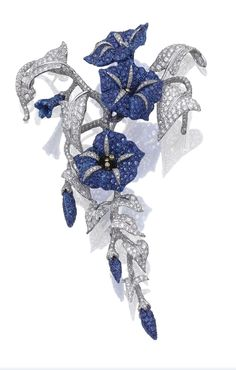 "Sapphire and diamond ""Convolvolo"" brooch, Michele Della Valle. Designed as a flowering branch of convolvulus, set with circular-cut sapphires and brilliant-cut diamonds, mounted in white gold and titanium, signed Michele della Valle and numbered, Italian assay and maker's marks."