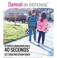 A child gets abducted every 40 seconds. Keep your children safe with Damsel in Defense! We have several options for kids, including personal alarms (Holla Hers, Holla His) and paracord bracelet whistles (Wristle)