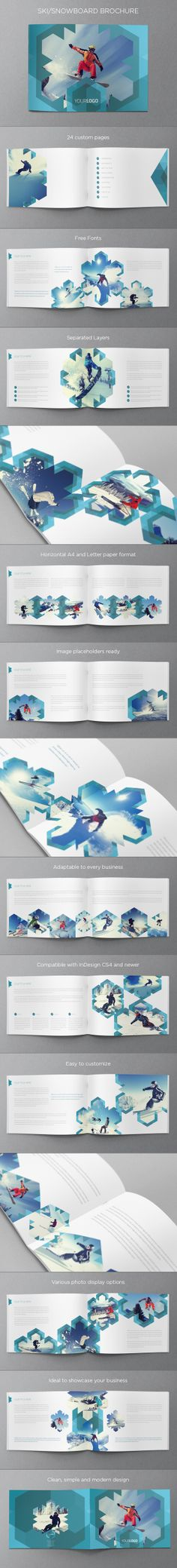 Ski & Snowboard Winter Brochure. Download here: http://graphicriver.net/item/ski-snowboard-winter-brochure/6278651?ref=abradesign #design #brochure