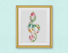 BOGO FREE! Treble Clef Floral Cross Stitch Pattern, Symbol Silhouette Flowers Counted Cross Stitch Chart, Modern Decor, PDF Download #025-21 by StitchLine on Etsy