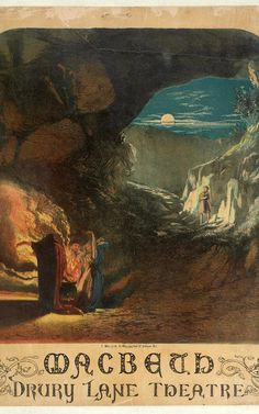 three witches in moonlit cave in colourful poster for 1865 production of Macbeth at the Drury Lane Theatre, London, UK