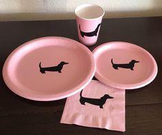 Dackel-Party Pack Hund Welpe Platten von SteshaParty auf Etsy