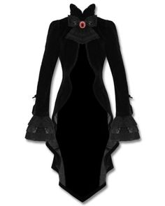 Punk-Rave-Gothic-Jacket-Tailcoat-Cloak-Black-Velvet-Vampire-Knight-Lace-Bustle
