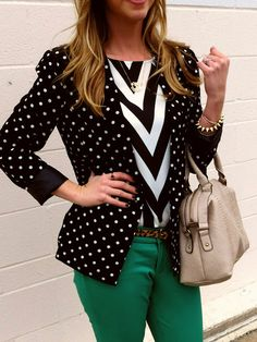 dc4f0196ec7a Big bold chevron print tee with a polka dot blazer. The kelly green pants  add a great pop of color. Fresh modern look
