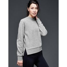 Gap Women Gapfit Side Zip Ponte Sweatshirt ($50) ❤ liked on Polyvore featuring tops, hoodies, sweatshirts, light heather grey, regular, crewneck sweatshirt, ponte top, side zip sweatshirt, sweat shirts and gap sweatshirt