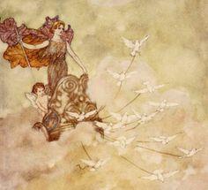 The Tempest- Iris, 1915 Edmund Dulac, Fairytale Art, Fairy Art, Pixies, Fantasy Creatures, Faeries, Elves, Gnomes, Book Worms