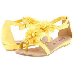 Bouquets Daisy ($69) ❤ liked on Polyvore featuring shoes, sandals, yellow, flats, women, embellished flats, low heel sandals, flat shoes, flat thong sandals and floral flats