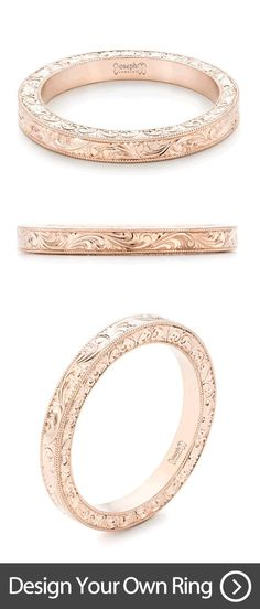 Custom Hand Engraved Rose Gold Wedding Band | Design your own wedding ring with us! This custom engraving is done by hand and is the product of our master engraver, who is one of the best engravers in the country. | Joseph Jewelry | Bellevue | Seattle | Design your own wedding ring.