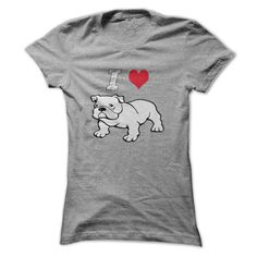 Super comfy with the trendy I Love English Bulldogs  theme, this T-shirt will be sure to bring in the compliments wherever you go!      Not only will you look great, you will feel great knowing that YOU have contributed to the well being of an English Bulldog in rescue.