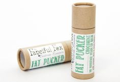 Fanciful Fox Fat Pucker Chocomint Giant Lip Balm - this lip balm is plastic free, and comes in a biodegradable cardboard push-up tube.