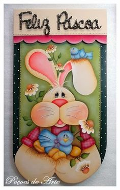 Poções de Arte: Placa Feliz Páscoa.