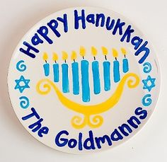 ersonalized Happy Hanukkah Plate - Celebrate this special holiday with this special personalized plate. 8 inch plate is dishwasher and microwave safe.