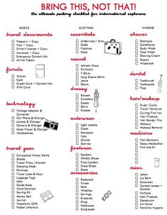 packing list for travelling abroad!