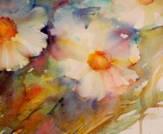Cosmos Flowers appearing in a second wash Building up Colour and adding definition. I have many paintings of flowers from my garden this S...