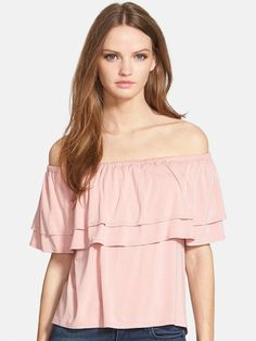 We love this off-the-shoulder Rebecca Minkoff top that Lauren Conrad included in her foolproof outfit combinations!