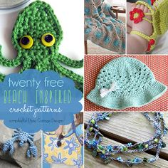 Check out this adorable beach inspired roundup of free crochet patterns. Whether they're a replica of something found under the sea, or just inspired by the colors of the ocean, these will all get you in the mood for that upcoming beach vacation. Crochet Beach Bags, Crochet Gifts, Crochet Baby, Free Crochet, Knit Crochet, Crochet Books, Crochet Flower Patterns, Crochet Flowers, Knitting Patterns