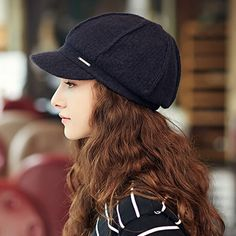 Fashion plain newsboy cap for women warm wool winter hats