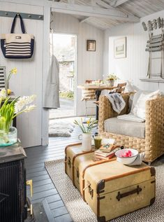 In this post, I'm sharing one of my favorite interior style – coastal style. A seaside inspired interior style. California casual, relaxed, and fresh. Shed Interior, Living Room Interior, Interior Styling, Interior Design, Coastal Cottage, Coastal Style, Coastal Decor, Modern Cottage, Coastal Farmhouse