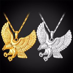 Eagle Necklace With Gold Plated Hawk Pendant. These custom designed Eagle Necklace With Gold Plated Hawk Pendant are a MUST HAVE! Designed with premium high-qua