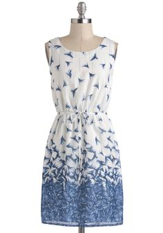 Simple white dress with blue bird pattern- modcloth