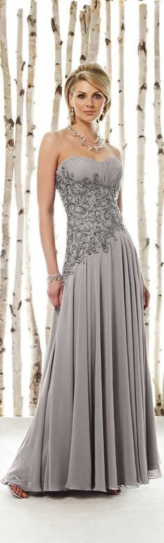 beautiful, with beading, more sophisticated with grey and pleating/folds in bodice and gathering of skirt -- long prom dress