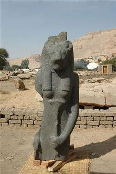 A granite statue of the lion-headed war goddess Sekhmet is seen in Luxor, Egypt Egyptologists find goddess and king in Sudan