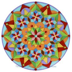 Manchester #Mandala - colourful archival print, hand embellished by #PatriciaSheaDesigns, $125.00 on #Etsy