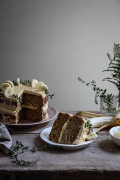 twiggstudios: banana thyme honey cake with brown sugar frosting and blonde chocolate drizzle