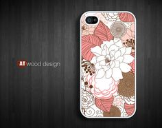 custom iphone 4 case iphone 4s case iphone 4 cover red white illustrator  flower graphic design printing. $13.99, via Etsy.