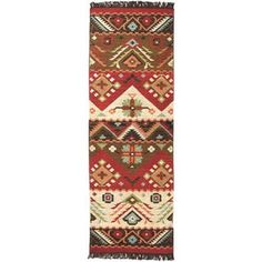 Shop for Hand-Woven Southwestern Aztec Santa Fe Wool Flatweave Area Rug - x Runner. Get free delivery On EVERYTHING* Overstock - Your Online Home Decor Store! Get in rewards with Club O! Jewel Tone Colors, Jewel Tones, Southwestern Area Rugs, Southwestern Style, Rug Runners, Runner Runner, Thing 1, Shades Of Beige, Red Rugs