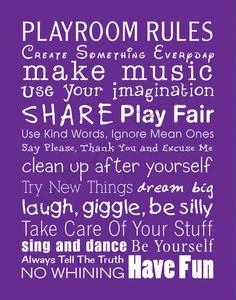 Children's Playroom Rules Subway Art, 11x14 Digital Print