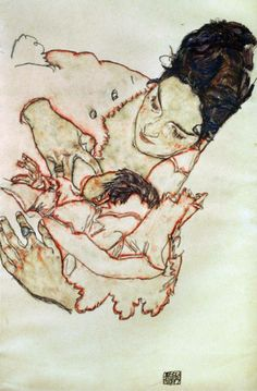 Egon Schiele (Austrian, Expressionism, 1890-1918). Nursing Mother (Stephanie Gruenwald), 1917. Watercolor and black crayon, 46 x 29.7 cm. Private Collection.