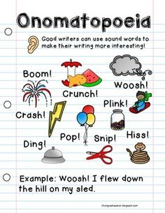 I use these cards to teach kids what onomatopoeia words are ...