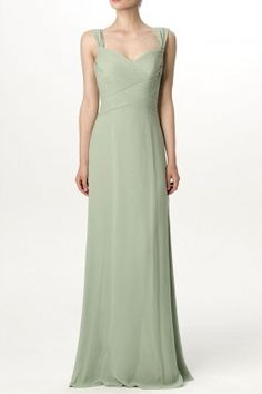 Queen Anne neck with wide straps. Floor length A-line long dress. Bridesmaid Dresses Australia, Olive Green Bridesmaid Dresses, Affordable Bridesmaid Dresses, Best Wedding Dresses, Cheap Wedding Dress, Green Bridesmaids, A Line Long Dress, Queen Anne, Criss Cross