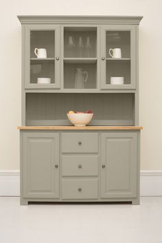 The Studio #025 Kitchen Dresser painted in Saltmarsh, from The Kitchen Dresser Company