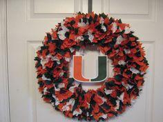 "18"" University of Miami Fabric Wreath. $39.99, via Etsy."
