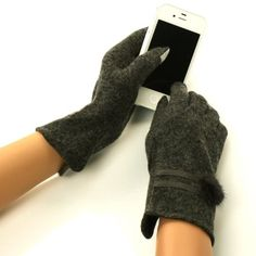 New Ladies Winter Fancy Cute Furry Fur Double Faux Fake Leather Trim Dressy Wool Magic Touch Screen Smartphone Thumb Index Technology Glove Outdoor Indoors Gloves with Faux Fake Leather Trim Magic Touch Glove for Tablet PC, Ipods, Ipads, Iphones, Laptops, Touchscreens, PDA and so much more New Technology, it's amazing! Keep your glove on and adjust your electronic devices. Warm and Comfortable Super soft & warm...