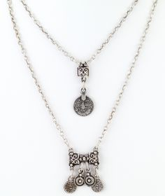 """Turkish design double layered necklace with vintage-style coins charms. Length 16""""/20"""" Double pendant Silver plated Made in Turkey"""
