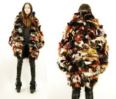 Vtg 70s 80s Rainbow Dyed Fox Fur Hippie Glam Boho Patchwork Coat Jacket L XL | eBay
