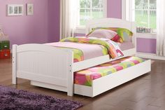 """Twin Bed F9218 $186  DESCRIPTIONS :  Excite your child with this twin wood bed in a white colored wood. It also includes a trundle bed perfect for sleepovers.   PRODUCT DIMENSIONS :  Twin Bed : HB 36"""" , FB 23"""" 12/12 Slats"""