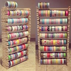 Creative way to store your washi. This craft uses stacked clothespins holding wooden sticks to hold up washi tape. You can get all the materials anywhere that sells craft items. Make sure to use wood...