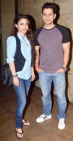 Soha Ali Khan and Kunal Khemu at the screening of #Marathi movie 'Court'.