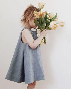 Image of wyeth dress- washed chambray