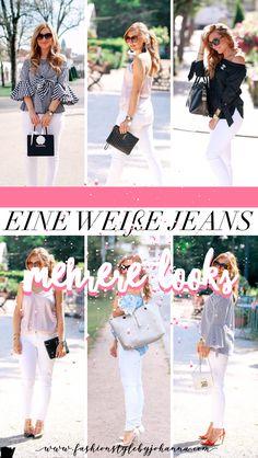 Eine weiße Jeans und mehrere Looks #jeans #outfitideen #schick #femininefashion #femininefashionideas