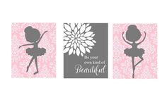Baby Girl Nursery Art - Ballerina Nursery Decor - Damask -Ballerina Nursery Print -Ballerina Nursery Art - Pink Gray by PangeaGrapics on Etsy