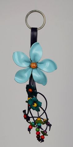 Leather Flower Key chain Leather Purse Charm Keychaon by LeatherAX