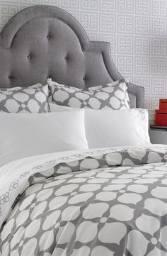 really like these bed linens with fabric headboard