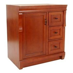 Home Decorators Collection Naples 30 in. D Vanity Cabinet Only in Warm Cinnamon with Left Hand Drawers - The Home Depot Birch Cabinets, Linen Cabinets, Bathroom Linen Cabinet, Bathroom Vanity Cabinets, Craftsman Style Doors, 30 Vanity, Bathroom Renovations, Bathrooms, Bathroom Styling