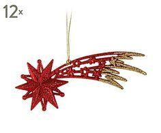 rbol de navidad set de adornos colgantes estrella rojo brillante